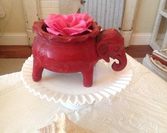 MID CENTURY MODERN Elephant Planter / Whimsical Clay Elephant Planter / Red Chinoiserie Elephant Planter at Retro Daisy Girl