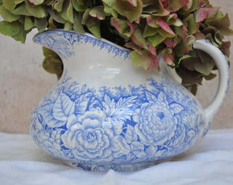 Antique French Country Water Pitcher Badonviller Late 19th Century Blue White China