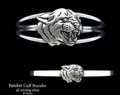 Panther Bracelet Sterling Silver Black Panther Head Cuff Bracelet Handmade