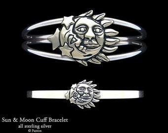 Sun Moon Bracelet Sterling Silver Sun Moon Cuff Bracelet Handmade
