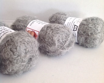 MOHAIR BOUCLE YARN - Grey - Doll Hair 50gr
