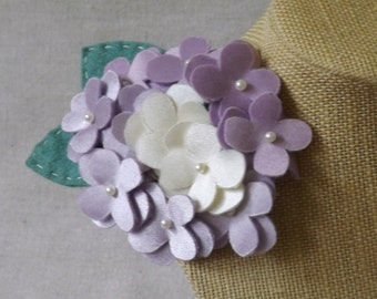 Hydrangea Brooch/Clip Combo in Shades of Lilac