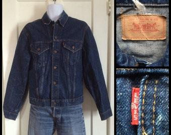 Vintage 1960's LEVI'S Big E Indigo Blue Single Stitch 2 Pocket Denim Jean Jacket size Large Slim Fit # 1876