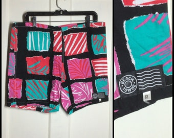 Vintage 1980's Beach Towne cotton Surf Board Shorts Swim Trunks size 32 drawstring black abstract color block patterned