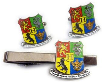 Harry Potter Hogwarts Crest Uniform Slitherin Suit Work Wedding Tie Bar Clip Cufflinks Cuff Links Set
