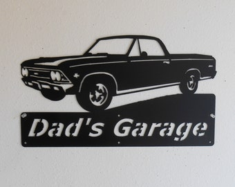 Personalized Metal Sign- Man Cave- Classic -1966 Chevy El Camino - Muscle Car -Garage Sign - Satin Black