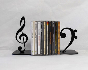 Music / CD storage / Metal Art Bookends / Shelf Decor / Organization / Compact Disc