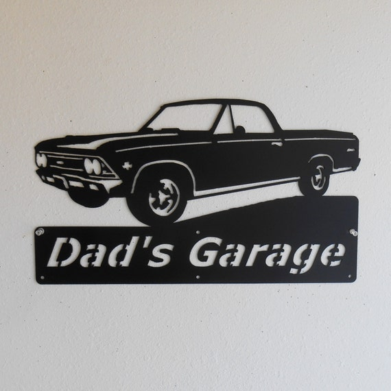 1966 Chevy El Camino - Personalized Metal Sign - Man Cave - Classic - Muscle Car -Garage Sign - Satin Black