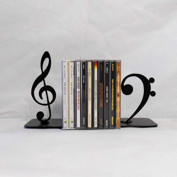 Music / CD storage / Metal Bookends / Shelf Decor / Organization / Compact Disc