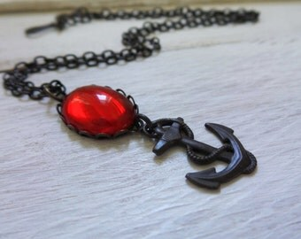 Vintage Anchor Necklace,  Brass Anchor, Red Vintage Glass Oval Setting, Rockabilly Necklace, Sailor Jewelry, Sea, Ocean, Captain Necklace