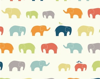 Organic DOUBLE GAUZE Fabric - Elephant Family Multi