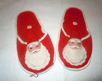 Vintage 1950s childs felt Santa Claus Christmas Slippers