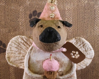 Pug Birthday Angel, OOAK, hand-sculpted from papier mache, PUG BIRTHDAY Angel