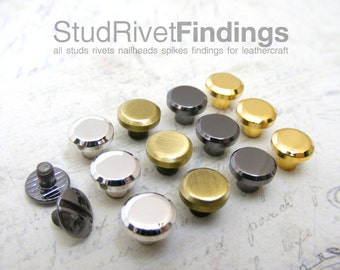 5sets 8mm Head, BRASS mini Button Studs Stand Leather Screw back / Chicago Screw for DIY Craft / HIGH Quality