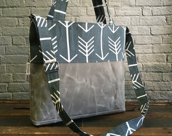Waxed Canvas Tote, Shoulder Bag, Waxed Canvas, Canvas Print Tote, Gray Arrows