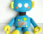 Robot - Ragdoll for Kids - Toys - Baby & Toddler - Stuffed Toy - Turquoise - Yellow - Citrus - Ready Made - Plushie -