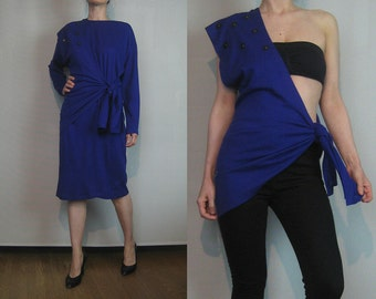 70s Paris STUDDED Sash VEST + DRESS Vintage 2 Piece Set Purple Knit Knitted Sweater Dress + Wrap Tie Vest xs Small Medium 1980s