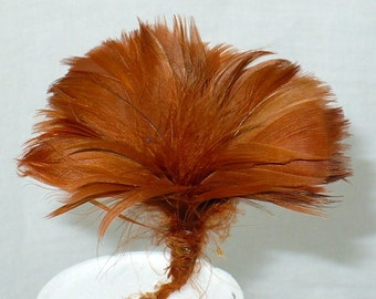 "2"" Vintage 1920's Millinery Feather Tuft, Burning Man Feather Flower Pick, Vintage Millinery Supply"
