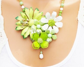 Repurposed Vintage Jewelry Necklace, Green and White Flowers