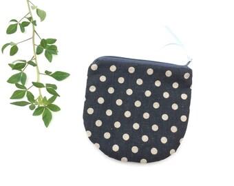 Linen Zipper Coin Pouch/ Fabric Coin Zipper purse/ Zipper Money Change Purse/ Gift Idea/ POLKA Dot on Black