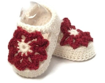 Knitted Flower Summer Sandals in Red and White Merino Wool
