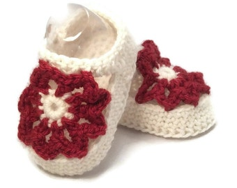 Red Baby Shoes, Baby Girl Shoes, Baby Mary Janes, Crochet Baby Shoes, Red Mary Janes, Merino Wool, Baby Shower Gift Warm and Woolly on ETSY
