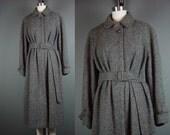 80s Tweed Coat Vintage 1980s Lands End Gray Detachable Belt Belted Charter Collection Andover Tweeds M L