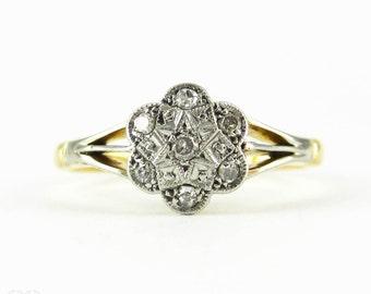 Vintage Flower Shape Diamond Engagement Ring, Daisy Cluster Ring. Circa 1920s, 18ct Gold & Platinum.