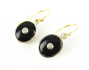 Vintage Onyx & Diamond Drop Earrings, Mid 20th Century 9ct Gold and Sterling Silver Oval Shape Dangle Earrings.