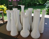 One Dozen Vintage Milk Glass Bud Vases, Wedding Vases, Wedding Decor, Table Setting.