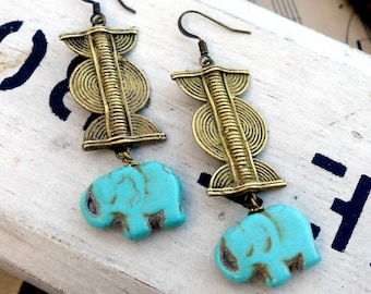 """African Elephant, Tribal """"lost wax"""" brass, Adinkra symbol with Turquoise Stone Elephant Earrings HollywoodHillbilly"""