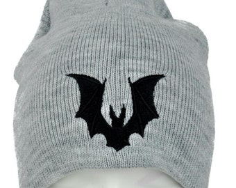 Gothic Vampire Bat Gray Knit Embroidery Beanie Hat