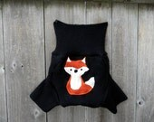 Upcycled Merino Wool /Cashmere Soaker Cover Diaper Cover Shorties With Added Doubler Black  With Fox  Applique MEDIUM 6-12M Kidsgogreen