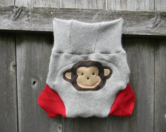 Upcycled Cashmere/ Wool Soaker Cover Diaper Cover With Added Doubler Gray/ Red With Monkey Applique MEDIUM 6-12M