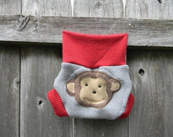 Upcycled Cashmere /Wool Soaker Cover Diaper Cover With Added Doubler Gray/ Red  With Monkey Applique NEWBORN 0-3M Kidsgogreen