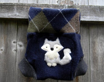 Upcycled Wool Soaker Cover Diaper Cover With Added Doubler Navy Blue Charcoal Gray With A Wolf Applique LARGE 12-24M