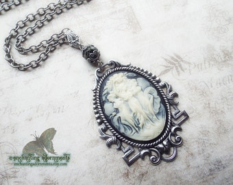Art Nouveau Goddess  - The Kharites - Three Graces Aged Silver Cameo Necklace - Greek mythology
