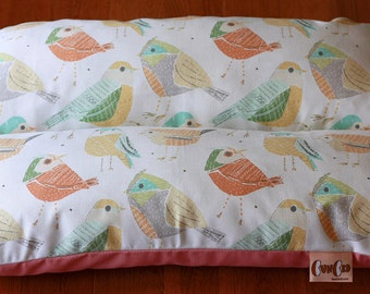 Small Dog Bed, Birds in Pink and Pastel, Orange Yellow Bunbed, Dachshund Dog Bed, Burrow Bed, Hot Dog Bed Bun Bed