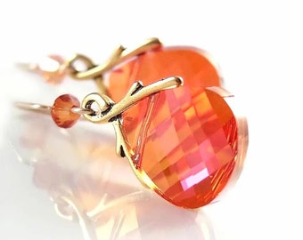 Orange Crystal Earrings 14k Gold Filled Hooks RARE Bead Swarovski Crystal Orange Dangle Earrings Red Orange Drop Earrings Crystal Jewelry