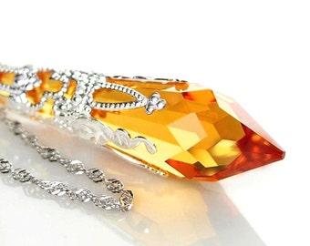 Topaz Crystal Necklace Sterling Silver Necklace Swarovski Crystal November Birthstone Amber Crystal Topaz Pendant Necklace Victorian Jewelry