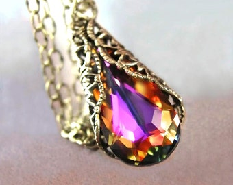 Amber Purple Crystal Necklace, RARE Swarovski Necklace, Colorful Red Purple Pendant Necklace, Teardrop, Antique Gold Brass Victorian Jewelry