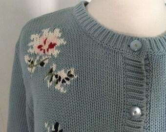 Vintage Eddie Bauer Cotton Sweater, Petite L Large, Light Cornflower Blue Knit Floral, Cranberry Pink & White Flowers Sage Green Leaves