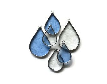 Stained Glass Raindrops - Set of 6 in Blue & Clear Suncatchers