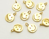 SV-137-GD / 2 Pcs - Smiley Face Charm Pendant in 92.5 Silver, Smile Charm (Small Size), 16K Gold Plated over 925 Sterling Silver / 6mm