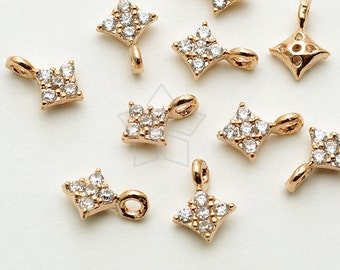 PD-1541-RG / 2 Pcs - Tiny Mini Delicate CZ Rhombus Charm, Diamond Shaped (Crystal), Rose Gold ...