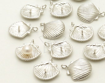 PD-1113-MS / 2 Pcs - NEW Tiny Pearl Shell Charm Pendants, Matte Silver Plated over Brass / 10.5mm x 12mm