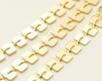 CH-123-GD / 1 meter - Square Links Chain, Rectangle Chain, Layered Bracelet Chain, 16K Gold Plated over Brass / 6mm x 4.3mm