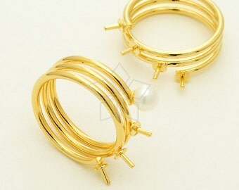 RR-030-GD / 1 Pcs - Spiral Coil Ring, Spring ring, Spiral Coil Band for Half Drilled Pearl, 16K Gold Plated over Brass / 6.5 US