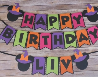 NEW! | Halloween | Minnie Mouse Birthday Banner | Personalized with Name | Mickey Mouse Halloween