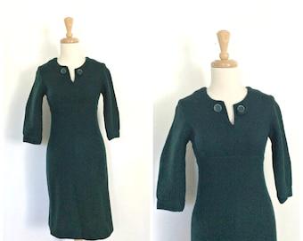 Vintage 50s Wiggle Dress - 1950s dress - dark green - fitted dress - wool dress - rockabilly - pin up - xs s
